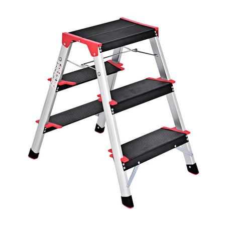 Costway 3 Step Aluminum Lightweight Ladder Folding Non