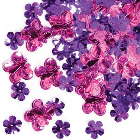 Club Pack of 12 Pink Butterfly and Purple Flower Celebration Confetti Bags 0.5 oz. - Butterfly Confetti