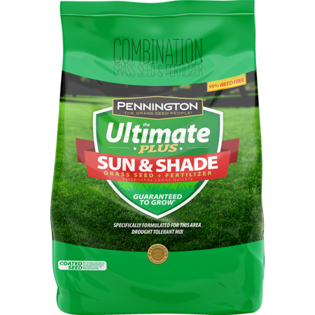 Pennington Ultimate Plus Grass Seed Plus Fertilizer Sun and Shade Mix; 3 lb