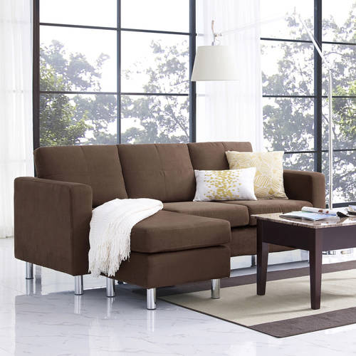 Dorel Living Small Spaces Configurable Sectional Sofa Multiple Colors : small brown sectional sofa - Sectionals, Sofas & Couches