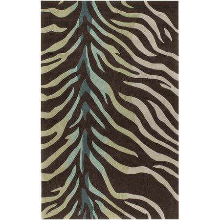 5 X 8 Zebra Animal Print Brown Blue And Green Hand