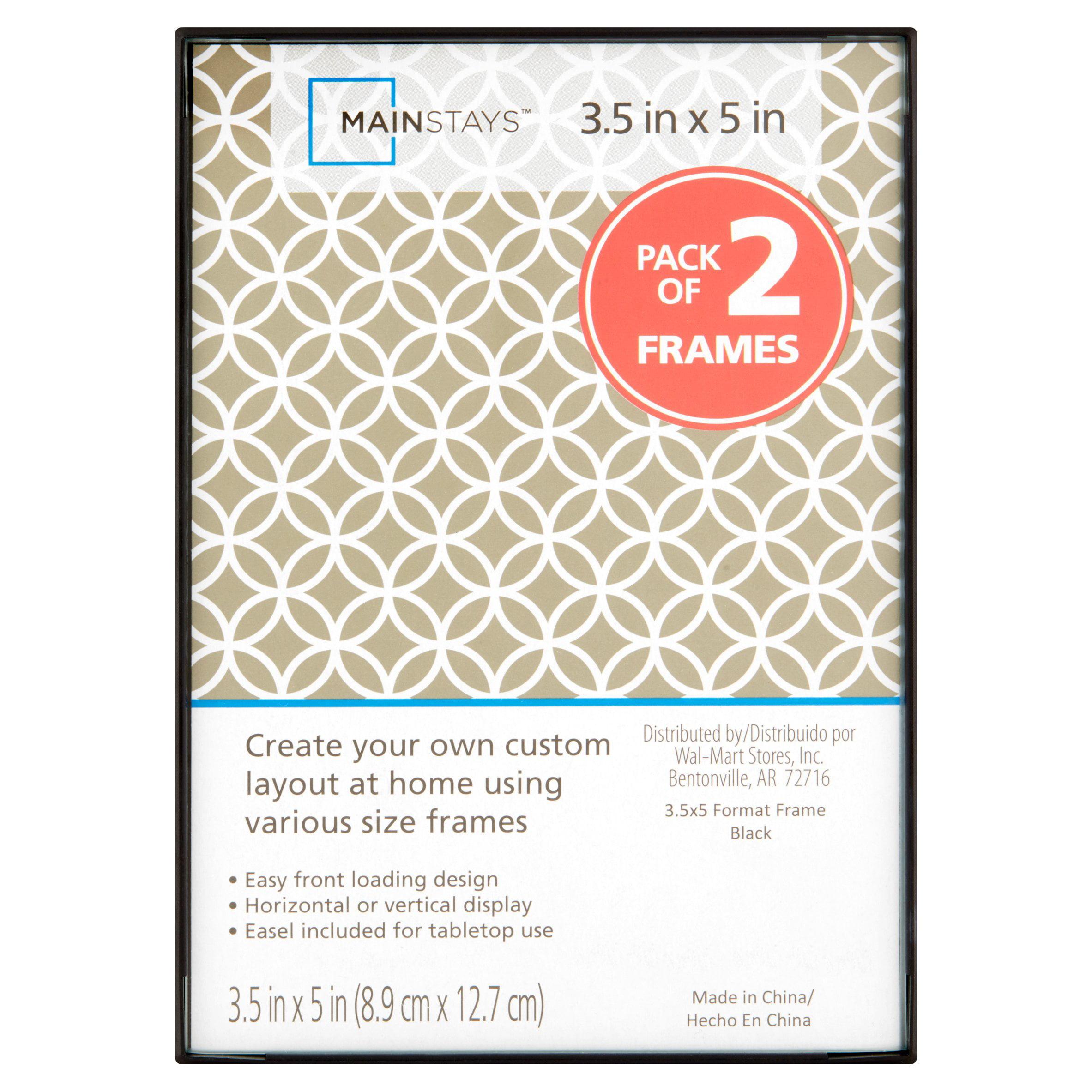 """Mainstays 3.5x5"""" 2 Pack Black Format Frame"""
