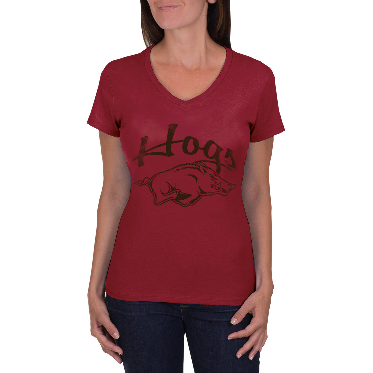 NCAA Arkansas Razorbacks Women's V-Neck Tunic Cotton Tee Shirt
