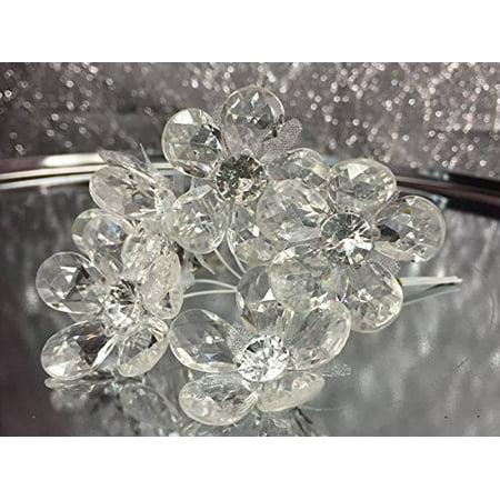 Sweet Pea Wedding Flowers - 2 Acrylic Clear Flower Bunches 6 Flowers Per Bunch 12 Flowers Weddings Sweet 16 or Bridal Shower