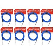 """8 Rockville RCGT10BL 10'  1/4"""" TS to 1/4'' TS Guitar/Instrument Cable"""