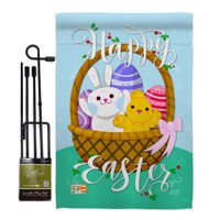 "Happy Easter Basket Spring Impressions Decorative Vertical 13"" x 18.5"" Double Sided Garden Flag Set Metal Pole Hardware"