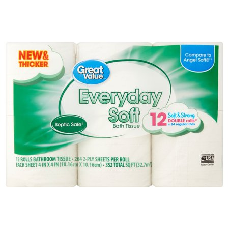 Great Value Everyday Soft Toilet Paper Double Rolls Walmartcom - Bathroom tissue on sale
