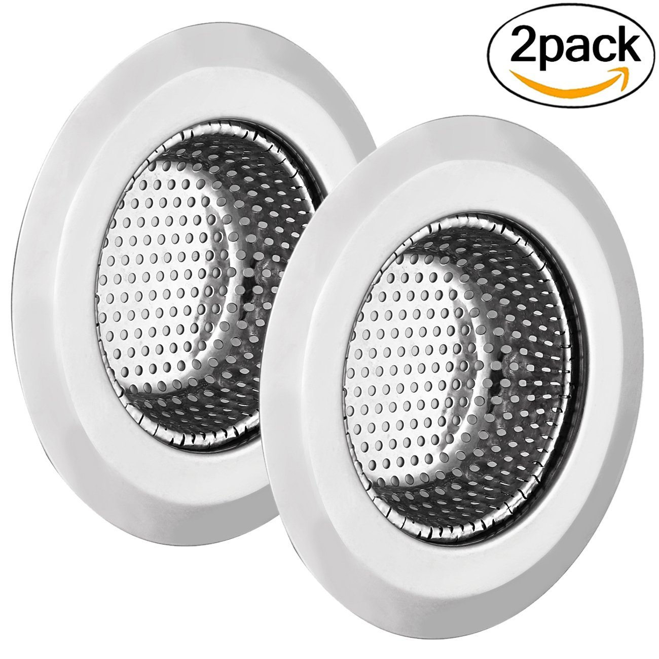 Outgeek 2 Pack Sink Strainer Stainless Steel Sink Strainer for Kitchen Sinks with Wide Rim by Outgeek