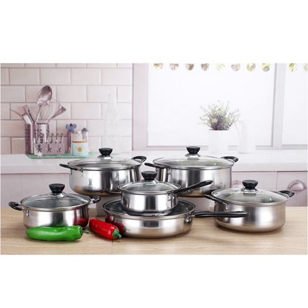 6 Piece Pots And Pans Stainless Steel Cooking Kitchen Induction Cookware Set MZ