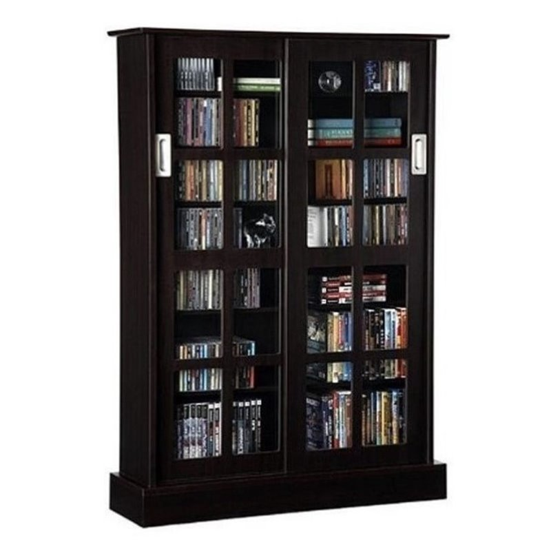 Bowery Hill Windowpane Sliding Glass Door Media Cabinet in Espresso by Bowery Hill