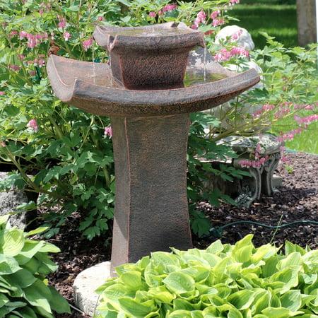 Sunnydaze Modern Zen Water Fountain, 2-Tier Outdoor Patio and Garden Birdbath Waterfall Feature, 30 Inch ()