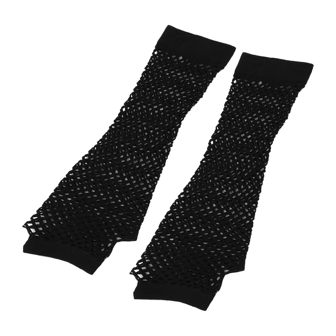 Woman Elbow Length Elastic Fishnet Fingerless Arm Warmers Gloves Pair