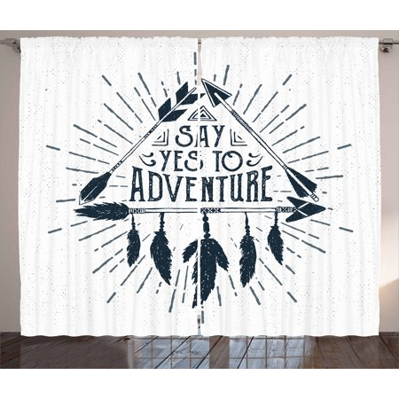 Adventure Curtains 2 Panels Set, Adventure Quote in Hand Drawn Tribal Frame with Arrows and Feathers Ethnic Artwork, Window Drapes for Living Room Bedroom, 108W X 90L Inches, Indigo, by Ambesonne