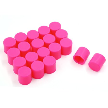 Unique Bargains 20PCS 17mm Car Auto Wheel Hex Nuts Bolts Hub Screw Covers Caps Protector Fuchsia