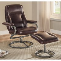 Deals on Mainstays Plush Pillowed Recliner Swivel Chair and Ottoman Set