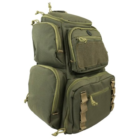 Horizontal Magazine Pouch (Range Backpack Tactical Shooting Backpacks Military Gear Rucksack Carries 5 Pistols Multi-Functional Ammo Pouches & Magazine Pockets for Handguns Thick Heavy Duty Quality Bag Khaki )