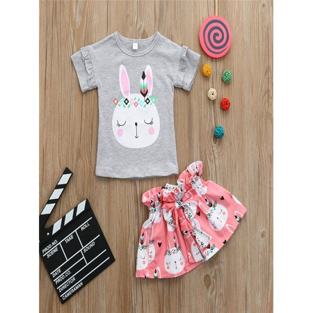 Toddler Kids Baby Girls Cartoon Rabbit Tops T Shirt Bowknot Skirt Outfits - Jessica Rabbit Outfit