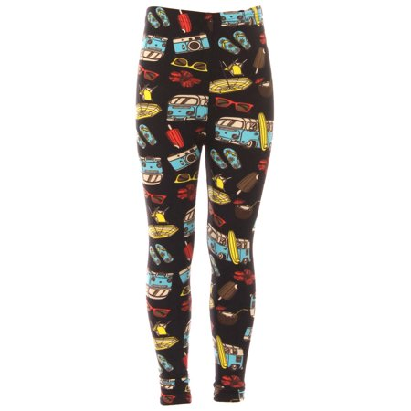 Kid's Beach Theme Mini Van Pattern Printed Leggings - L/XL