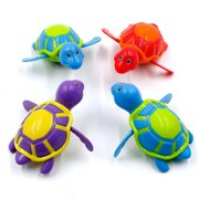 Wind Up Swimming Kids Baby Bath Toys Girls Boys Toddlers Bathtime Bathtub Tub Toys Bathroom Floating Sea Animal Water Turtle Toys for 1 2 3 Year Olds, 4 Pack (Random Color)