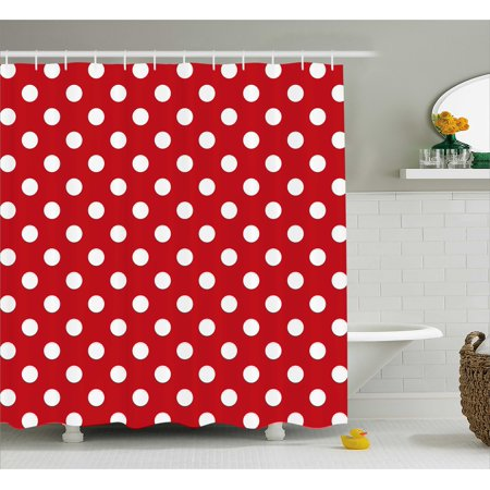 Retro Shower Curtain, Vintage Polka Dots with Big White Circular Round Forms Nostalgic Girlish Kitsch Art Design, Fabric Bathroom Set with Hooks, 69W X 70L Inches, Red, by Ambesonne