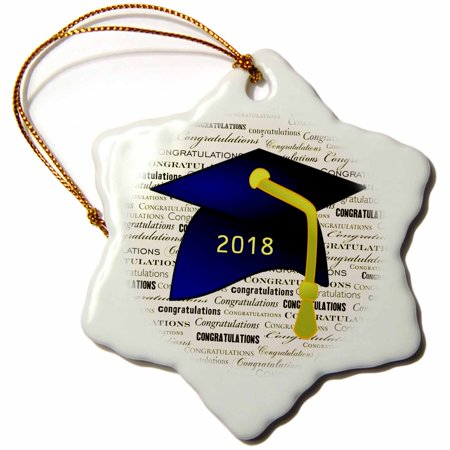 3dRose Image of Congratulations Blue Cap Yellow Tassel On Message - Snowflake Ornament, 3-inch