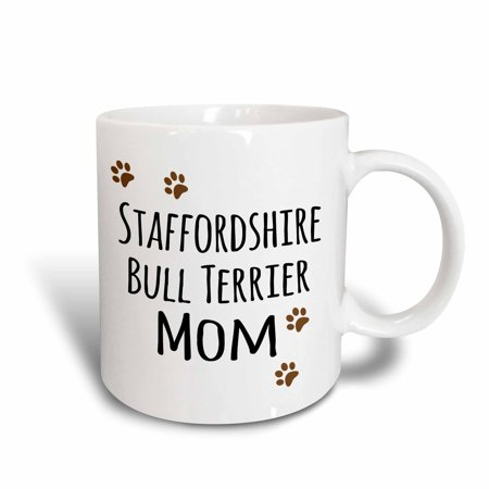 3dRose Staffordshire Bull Terrier Dog Mom - Doggie by breed - muddy brown paw prints doggy lover pet owner, Ceramic Mug, 15-ounce (Staffordshire Engraving)