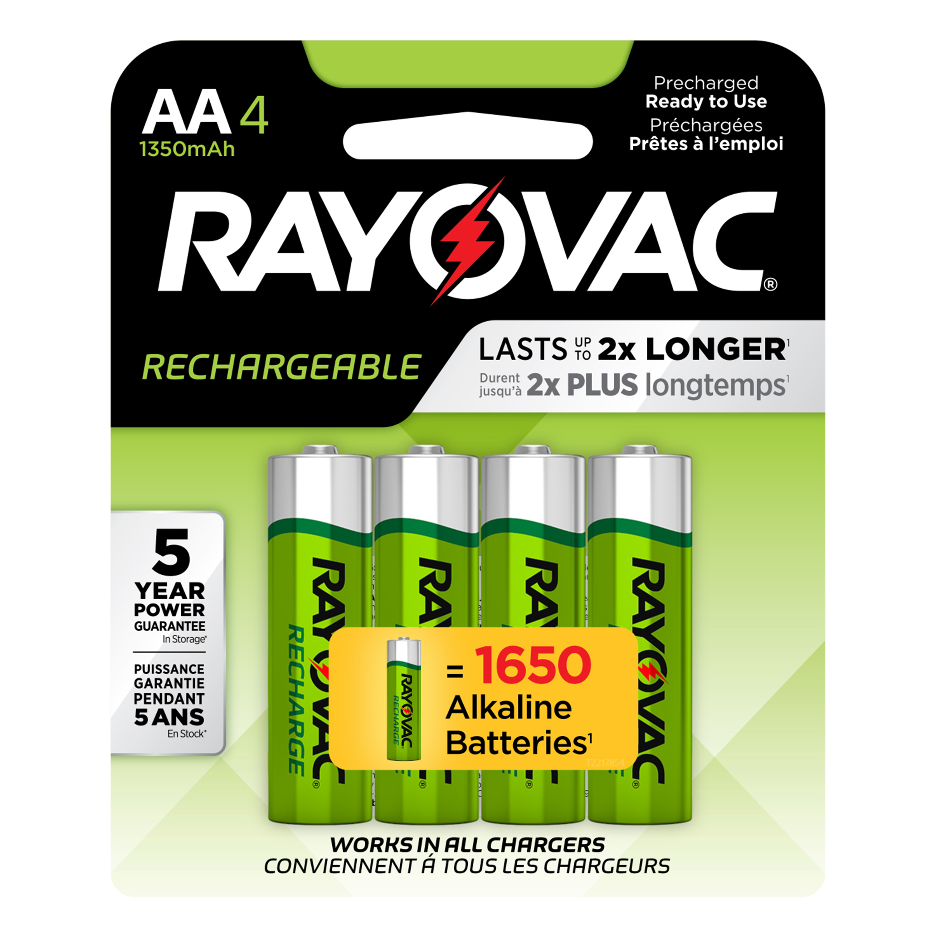 Rayovac Pre-charged Rechargeable NiMH, AA Batteries, 4 Count