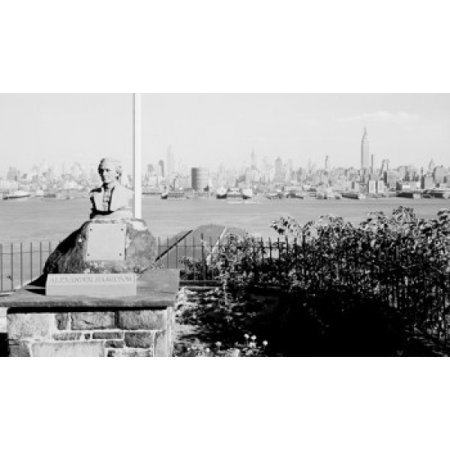 USA New York State New York City View looking past Alexander Hamilton Memorial toward skyline of Midtown Manhattan Canvas Art -  (18 x
