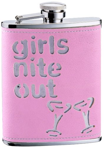 Visol Girls Nite Out Pink Leatherette 6 Oz Home & Garden Hip Flask Bar Tools & Accessories