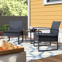 3-Pieces Walnew Patio Furniture Cushioned PE Rattan Bistro Chairs