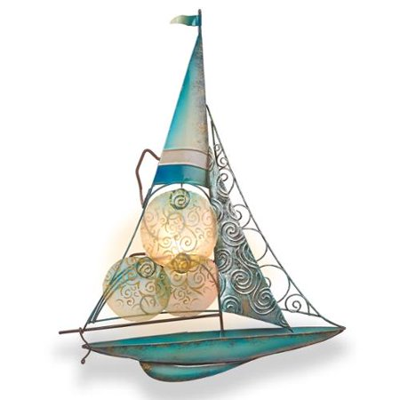 14 5 turquoise and sky blue capiz shell sailboat tealight candle holder wall sconce - Capiz shell tealight holder ...