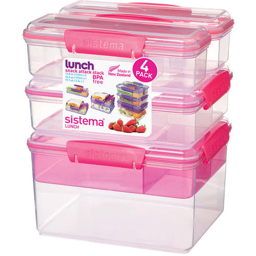 Sistema Snack Attack Stack Container, Clear with Accents, 4 Pack