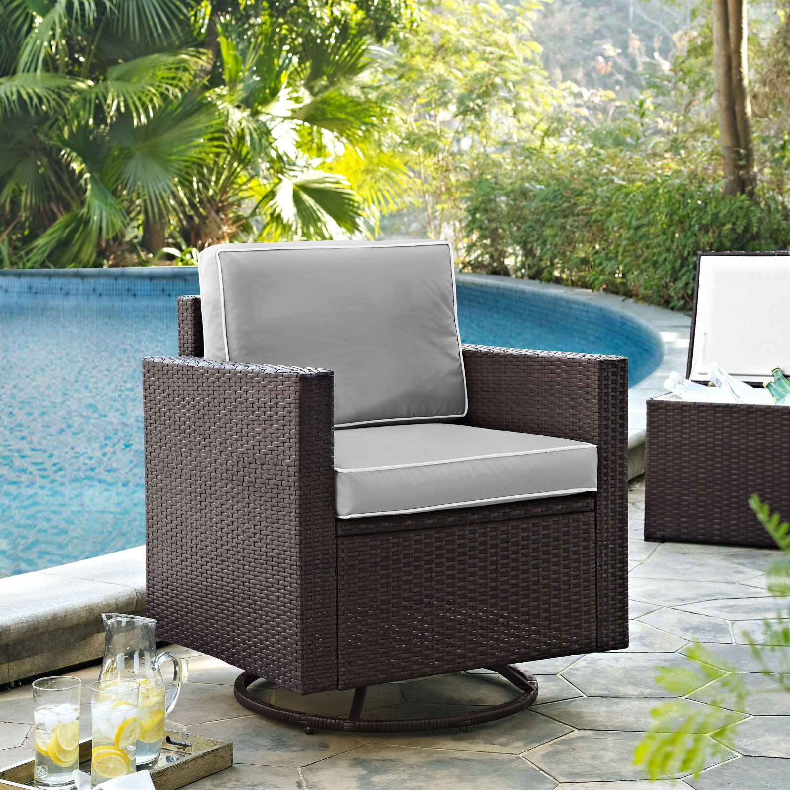 PALM HARBOR OUTDOOR WICKER SWIVEL ROCKER CHAIR WITH GREY CUSHIONS