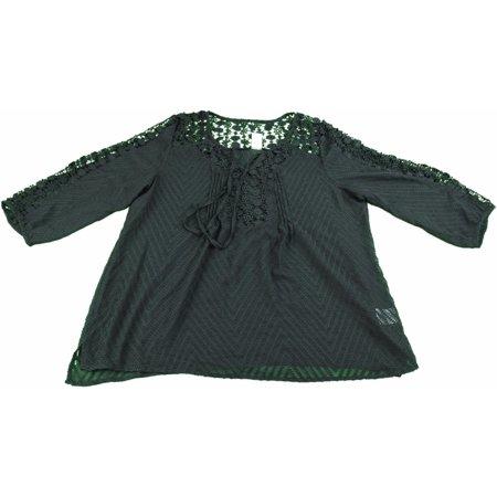 Sheer Black Lace Top - Bila Ladies Size 2X-Large Sheer Lace Crochet 3/4 Sleeve Blouse Top, Black