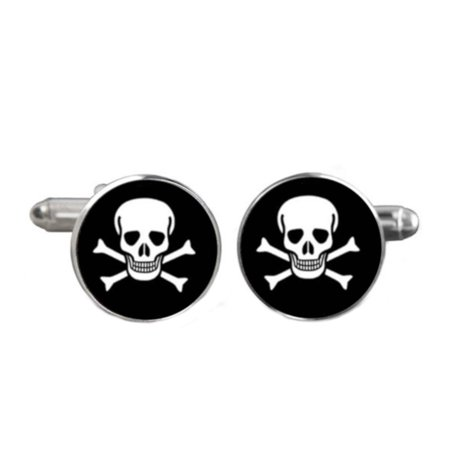 - Cross Bone and Skull Cufflinks Silvertone Anti-Tarnish Skull Head Jewelry, CL-17
