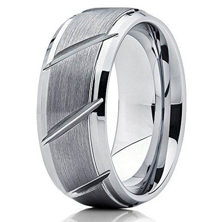 9mm Tungsten Wedding Band Men & Women Tungsten Carbide Ring Grooved Tire Design Tungsten Band Gray Tungsten Ring Comfort Fit