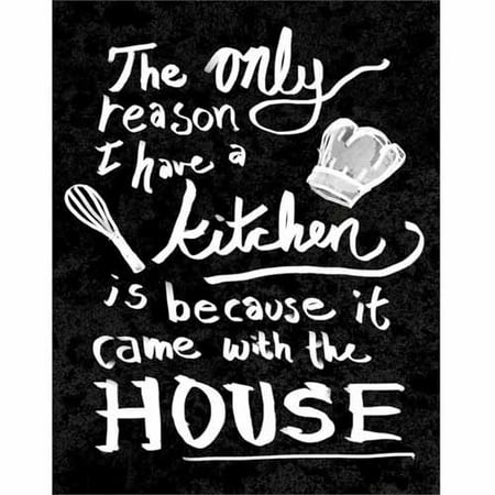Came with The House Hand Drawn Distressed Kitchen Typography Black & White Canvas Art by Pied Piper Creative