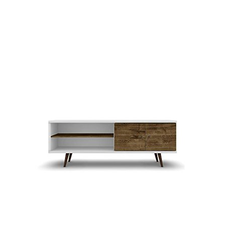 ModHaus Living Mid Century Modern 62.99 Inch TV Stand Storage with 3 Shelves 2 Doors and Solid Wood Legs - Includes Pen (White and Rustic Brown)