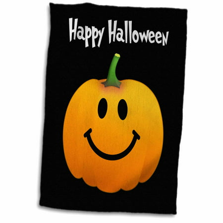 3dRose Happy Halloween wish with orange pumpkin smiley face on spooky black Fun cute jack o lantern carving - Towel, 15 by 22-inch (Smiley Pumpkin)