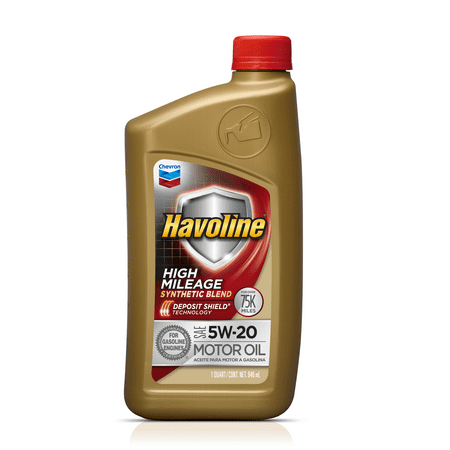 Havoline High Mileage Synthetic Blend Motor Oil 5w20 1 Qt
