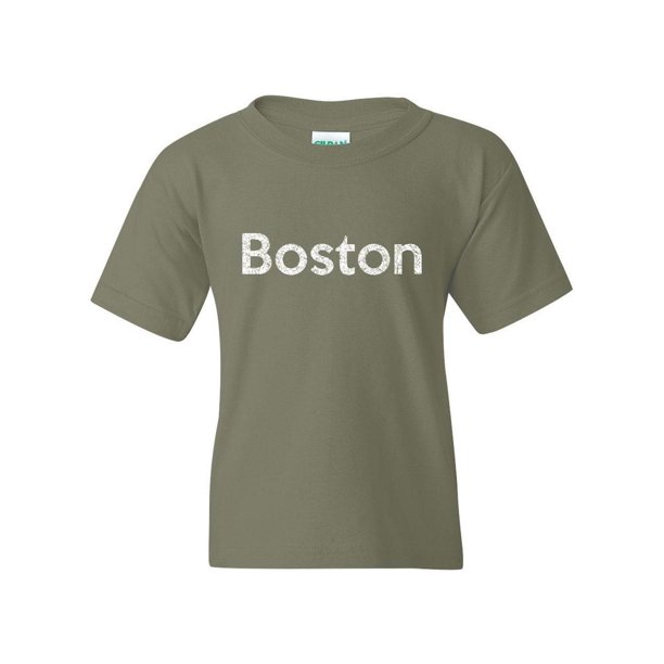 Boston Unisex Youth Kids T-Shirt Tee Clothing Youth Medium Military Green