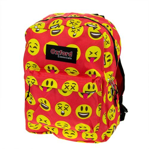 Kids Oxford Essentials Emoji  15 Backpack Emoticon Faces Bag For School Camping