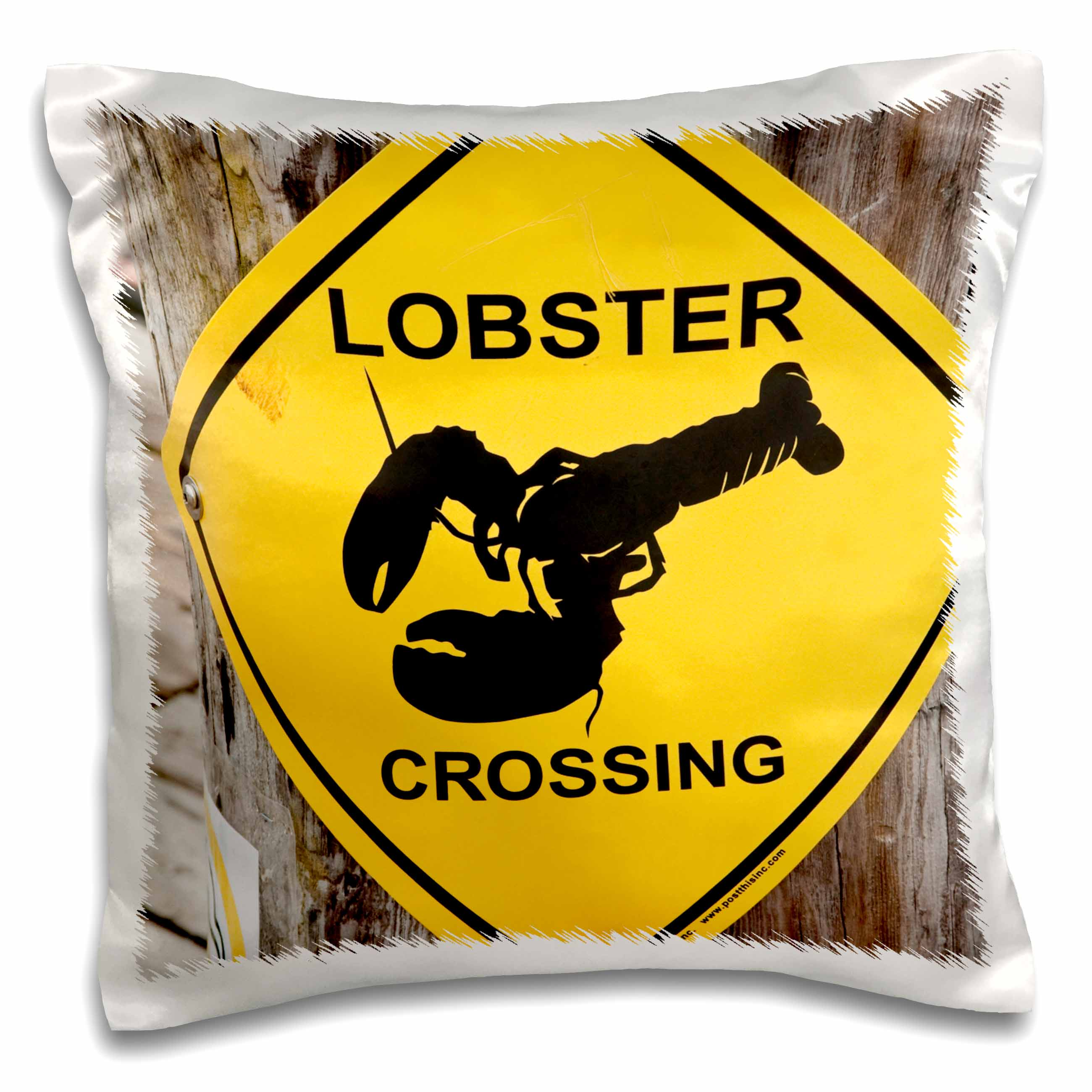 3dRose Nova Scotia, Canada. Lobster sign Lunenburg.-CN07 MDE0050 - Michael DeFreitas, Pillow Case, 16 by 16-inch
