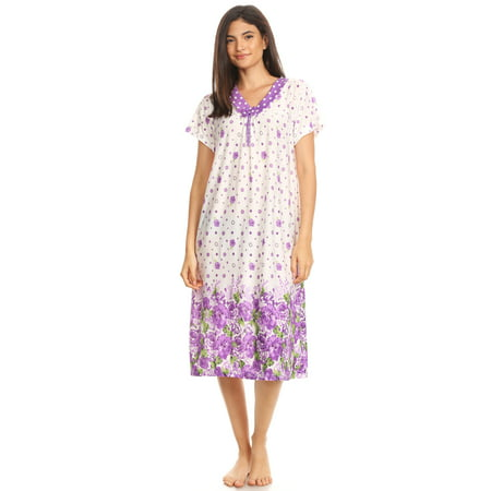 811 Womens Nightgown Sleepwear Woman Short Sleeve Sleep Dress Nightshirt Purple XXL