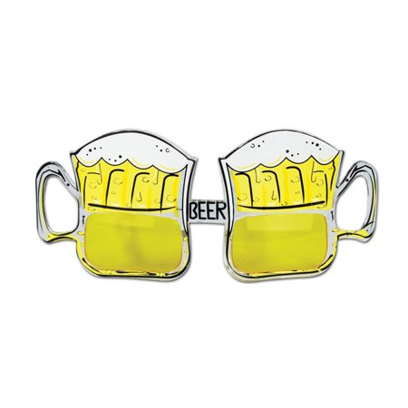 Pack of 6 Yellow and White Beer Mug Fanci-Frame Eyeglass Party Favor Costume Accessories - Beer Mug Costumes