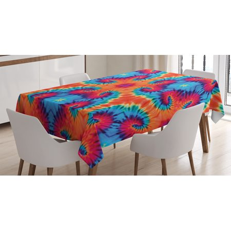 Tie Dye Decor Tablecloth, Spiritual Ikat with Hallucinatory Concentric Fractal Weird Creepy Reflection, Rectangular Table Cover for Dining Room Kitchen, 52 X 70 Inches, Orange Blue, by Ambesonne - Tie Dye Tablecloth