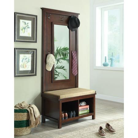 Simple Relax 1perfectchoice Hallway Entryway Hall Tree Bench Coat Rack Storage Shoe Shelf Mirror Dark Walnut