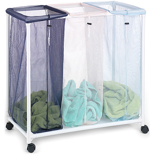 Homz Triple Laundry Sorter with Durable Frame and Casters