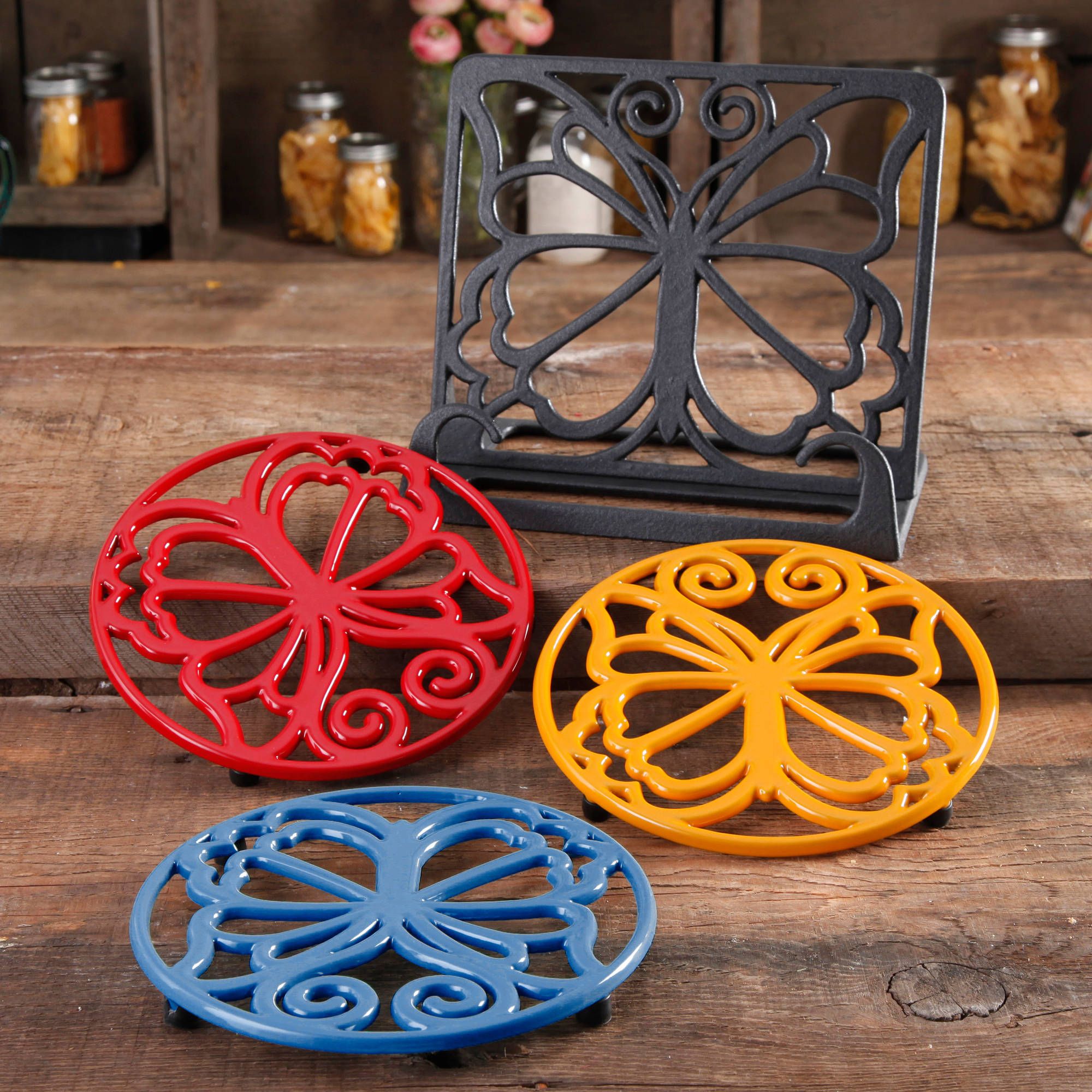 The Pioneer Woman Timeless Beauty 4-Piece Cast Iron Cookbook Holder And Trivet Set