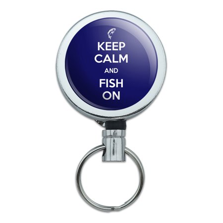 Keep Calm And Fish On Bass Fishing Retractable Belt Clip Badge Key Holder